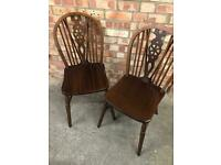 2 Vintage Beech Wheel Back Dinning Chairs
