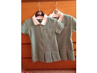 GIRLS GREEN GINGHAM SCHOOL DRESSES SIZE 3-4 BY ZECO