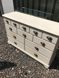 12 draw painted white chest drawers