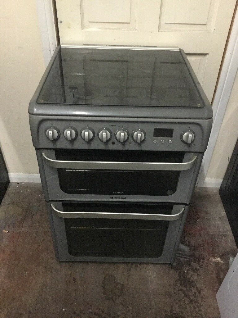Hotpoint ultima gas cooker 60cm grey FSD double oven 3 months warranty free local delivery!!!!!!!