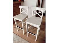 Two White IKEA Bar Stools with Backrest