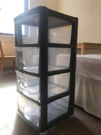 Plastic 4 drawers medium storage tower
