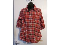 RED CHECK SHIRT / BLOUSE NEW LOOK TALL SIZE 16 MAYBE COWGIRL FANCY DRESS