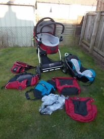 Buggy Pram Pushchair with car seat and raincover, footmuff, nappies bag etc