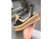 BNIB black flatform sandals sizes 4-8