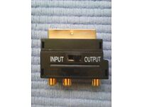 SCART to 3 RCA Phono + S video VHS TV Adapter - Gold Plated