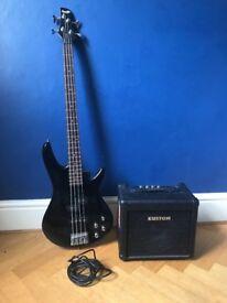 Ibanez GSR200 bass guitar and kustom bass amp
