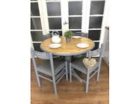 Pine table and 4 chairs Free Delivery Ldn Shabby Chic Grey