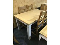 New-Solid OAK top extending table and four new oak chairs