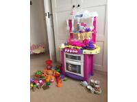 Child's play kitchen hello kitty sounds. Food all you need