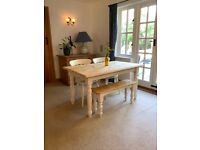 Refurbished Farmhouse Table, Two Chairs and a Bench