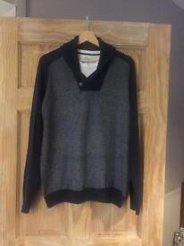 Next men's cowl neck jumper with white tee neckline size L