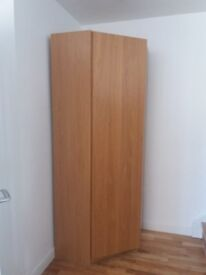 Ikea Corner Wardrobe with one door, hanging rail and a shelf