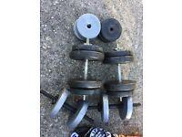 Adjustable Steel and Plastic Dumbbells Set.