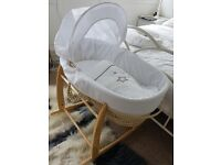 Clair de Lune rocking stand with moses basket. Unisex Baby changing station
