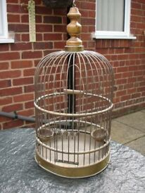 "Brass Bird Cage Approx 23""high x 12""wide about 36 years old Damage on bottom Rim needs cleaning"