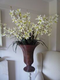 Beautiful artificial Orchid in Rustic Wire Urn