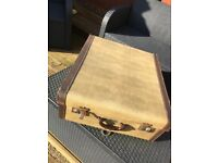 Vintage suitcase-cream and brown