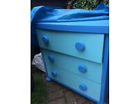 A set of 3 drawers in blue bought from Ikea for boys bedroom