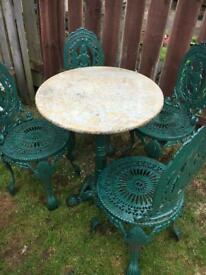 Antique CAST IRON extremely heavy garden bistro set with marble top