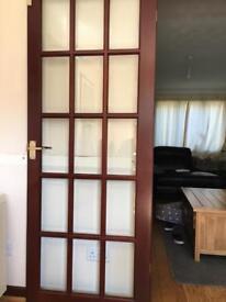 2x Wooden glass panel doors
