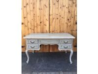 DESK DRESSING TABLE FRENCH LOUIS STYLE PALE BLUE & CREAM SOLID WOOD