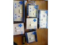 cream metal plate light switches socket