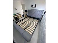 Grey Velvet Superking Upholstered Bed frame