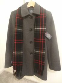 St. John's Bay Ladies Wool-Blend Charcoal Scarf Coat Size S
