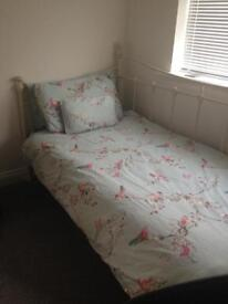 Single Bed - cream metal day bed