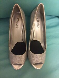 Woman's silver sparkle high heels