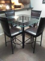 Bar height table dining set