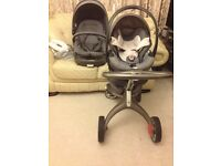 Stokke Xplory V4 Black Melange travel system, Pushchair, car seat iZi Go, base The BeSafe® iZi Go