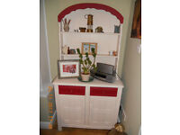 VINTAGE DRESSER and MATCHING CORNER CABINET in RED, IVORY and BRONZE
