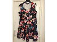 Simply Be Black Print Sweetheart Dress Size 16