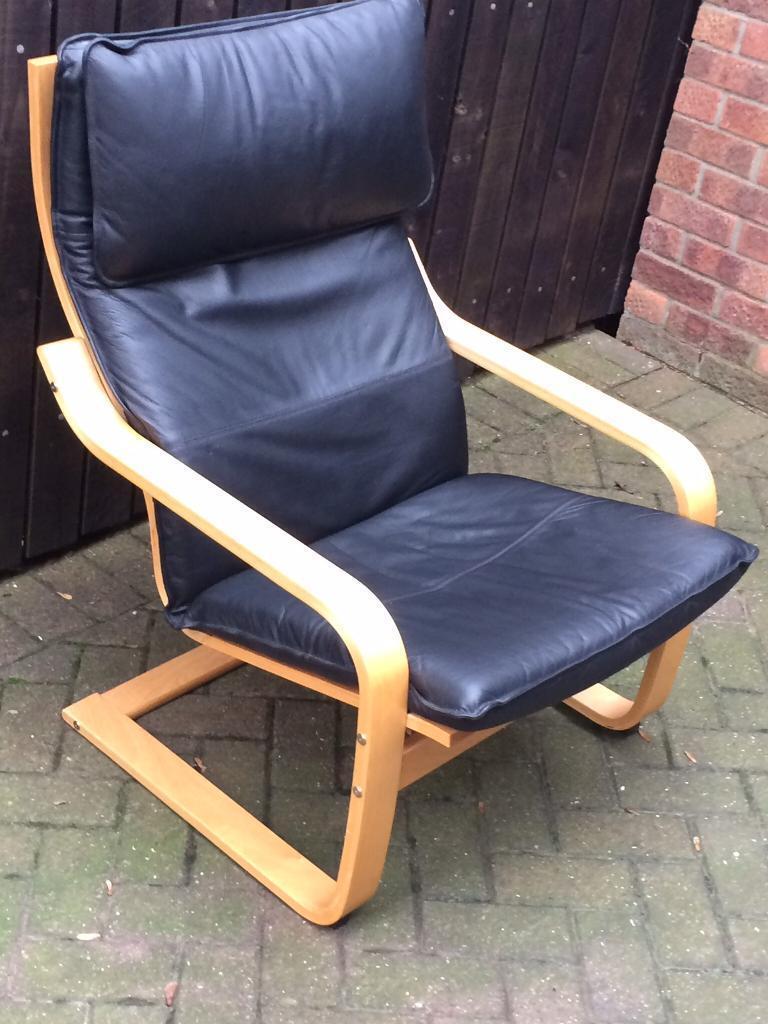 Ikea black leather and beechwood chair