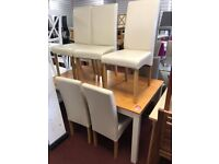 pine/white table and 6 chairs