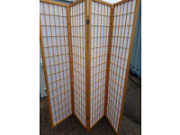Japanese style wooden 4 panel and folding Room divider