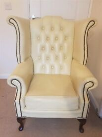 Chesterfield Queen Anne Wing Chair Real Genuine off White(cream ) Leather