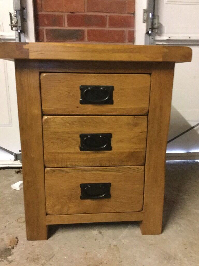 Original rustic solid oak 3 drawer bedside table oak for Oak furniture land