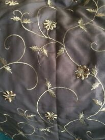 2pairs curtains. Dorma cream lined & Brown lined with gold embroidery