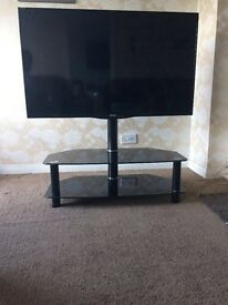 Black gloss swivel TV stand