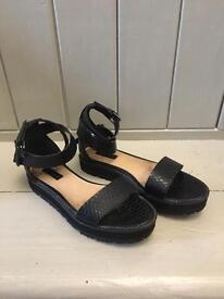 Top shop wedges sandals moc croc effect strappy black as new uk 5 38