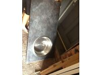Kitchen round sink and worktop