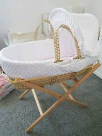 White Moses basket with stand