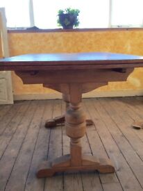 """Antique light oak dining table with two extending leafs. 41""""L x30""""W extends to 65""""L"""