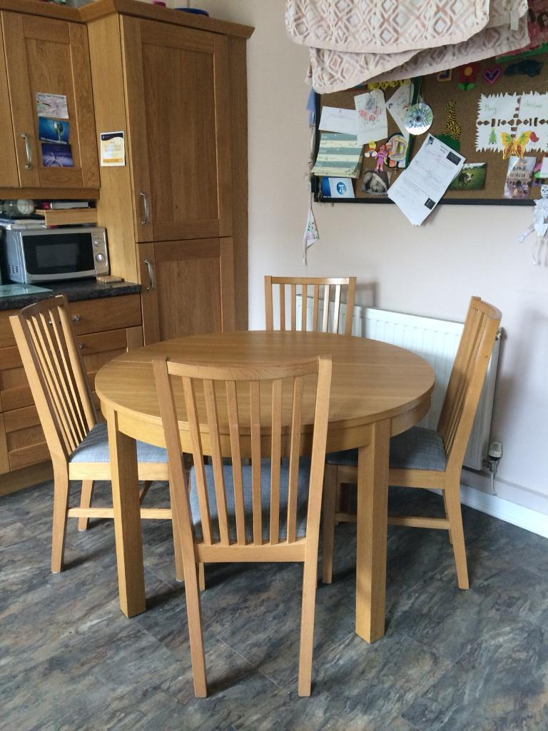Oak Veneer Dining Table And 4 Chairs