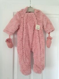 BNWT George at ASDA Pink fluffy pramsuit with gloves 6 - 9 months