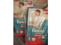 X2 NEW-PAMPERS SIZE 5 BABY DRY PANTS