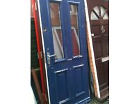Exterior wooden door with frosted double glass